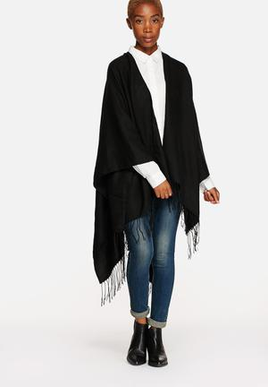 ONLY Agatha Weaved Leo Poncho Scarves Black