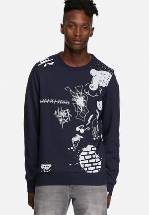 Jack & Jones Originals Scribble Sweater Hoodies & Sweatshirts Navy Blazer