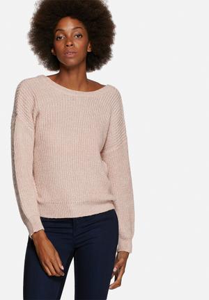 VILA Match Sweater Knitwear Dusty Pink