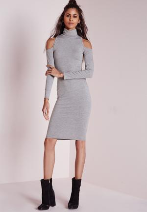 Missguided Jersey Cold Shoulder Midi Dress Casual Grey