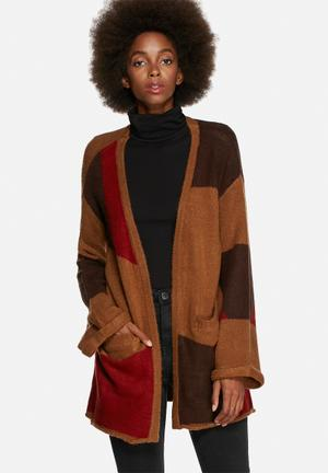 Glamorous Patchwork Knitted Cardigan Knitwear Brown