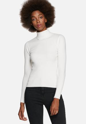 Glamorous Funnel Neck Sweater Knitwear Cream
