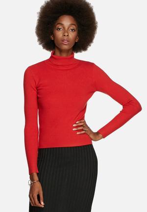 Glamorous Funnel Neck Sweater Knitwear Rust
