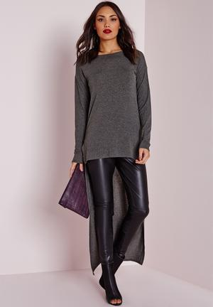 Missguided Dipped Hem Long Sleeve Tunic T-Shirts, Vests & Camis Grey