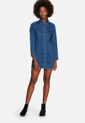 Glamorous Denim Button Thru Dress Casual Blue