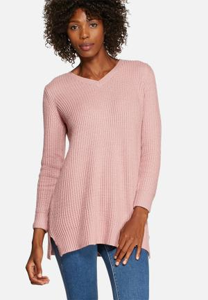 Glamorous Pretty In Pink V-Neck Knit Knitwear Pink