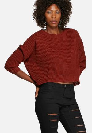 Glamorous Short Ribbed Sweater Knitwear Grey