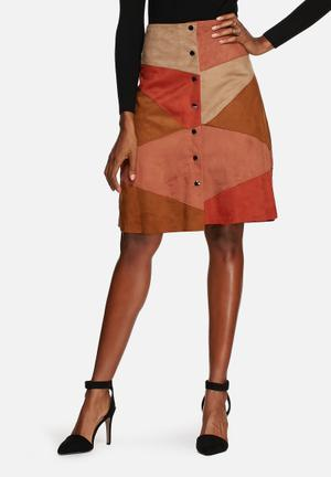 Glamorous Suede Patchwork Skirt Tan