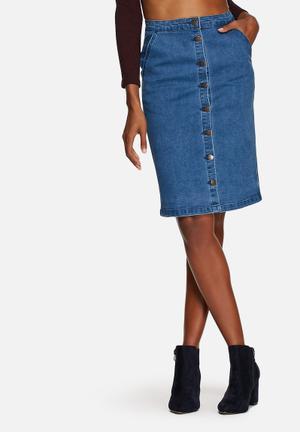 Glamorous Denim Button Midi Skirt Blue