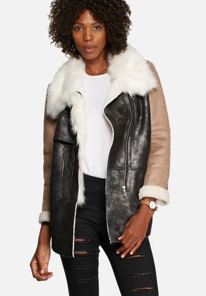 Glamorous Multi-Textured Overcoat Black, Sand, White