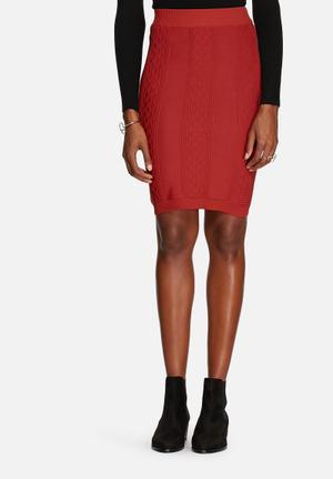 Glamorous Bodycon Knit Skirt Rust