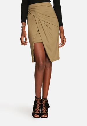 Glamorous Wrap Pencil Skirt Khaki