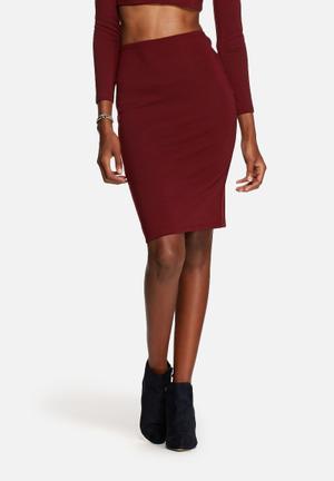 Glamorous All-Eyes-On-You Pencil Skirt Burgundy