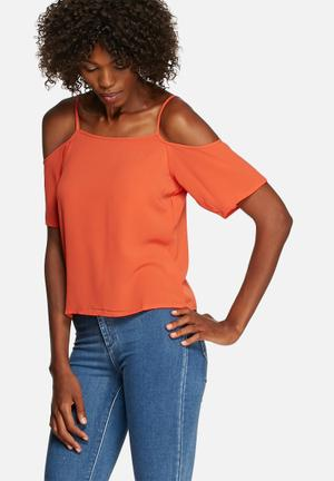 Glamorous Cold Shoulder Top Blouses Rust