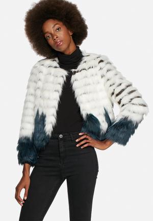 Glamorous Two Tone Faux Fur Short Jacket Navy & White