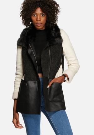 Glamorous Monochrome Coat Black & Cream