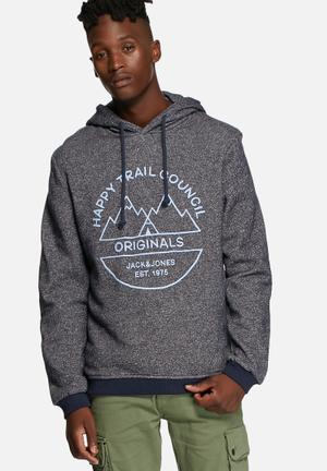 Jack & Jones Originals Willie Hooded Sweat Hoodies & Sweatshirts Navy Blazer
