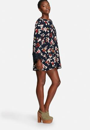 Glamorous Orchid Dress Casual Navy & Rust