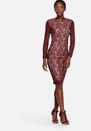 Glamorous Ladylike Lace Dress Occasion Burgundy