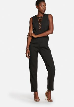 Glamorous Lace-Up Jumpsuit Black
