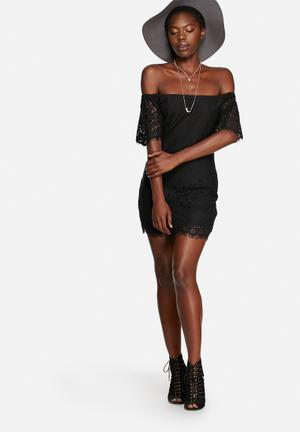 Glamorous Lace Off Shoulder Dress Occasion Black