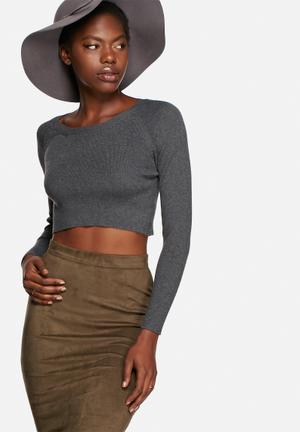 Glamorous Cropped Sweater Knitwear Black