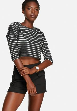Glamorous Stripe Crop Top T-Shirts, Vests & Camis Charcoal