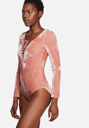 Glamorous Velvet Bodysuit Blouses Pink
