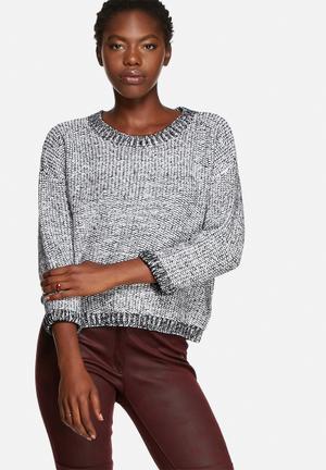 Glamorous Autumn Crop Knit Knitwear Black & Grey