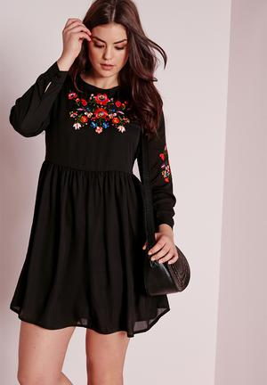 Missguided Plus Size Embroidery Dress Black