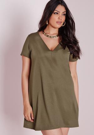 Missguided Plus Size V-neck T-shirt Swing Dress Khaki