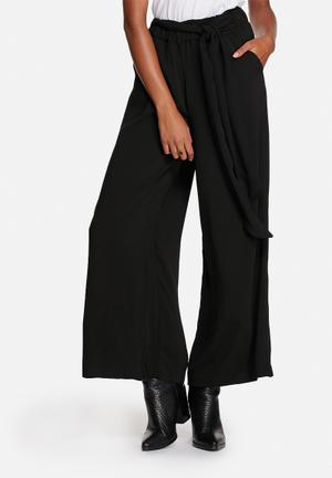 ONLY Alex Wide Leg Belted Pants Trousers Black