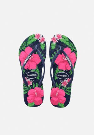 Havaianas Women's Slim Floral Sandals & Flip Flops Navy & Pink