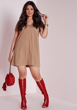 Missguided Plus Size V-neck T-shirt Swing Dress Casual Nude