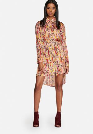 Glamorous Deco Floral Print Shirt Dress Casual 100 % Polyester