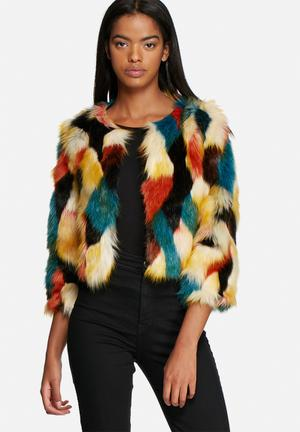 Glamorous Multi Faux Fur Short Jacket Multi
