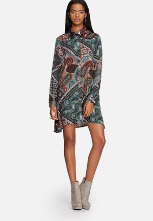 Glamorous Paisley Shirt Dress Casual Blue