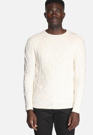 Selected Homme Miles Crew Knitwear White Pepper Melange