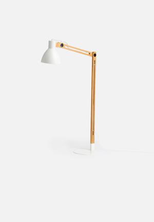 Nolden Bros White & Wood Floor Lamp Lighting Wood & Mild Steel