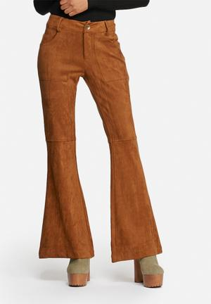 Glamorous Flare Suedette Pants Trousers Tan