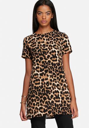 Glamorous Leopard Print Tunic Blouses Brown