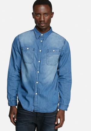 One Teaspoon Homme Liberty Shirt Blue