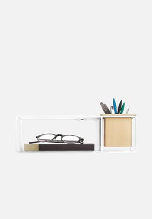 Umbra Cubist Shelf Small  Beech Wood, Plastic Liner & Powder Coated Metal