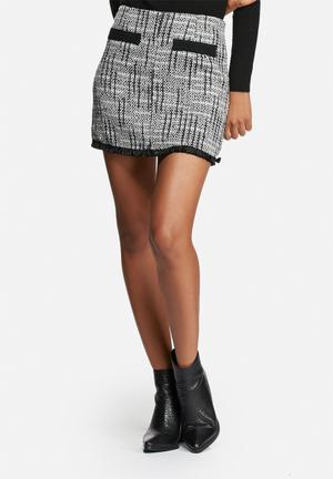 Glamorous Tweed Mini Skirt Blue