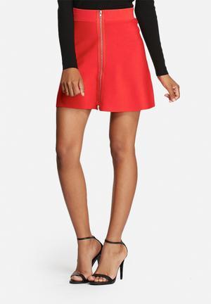 Glamorous Zipper Knit Skirt Red