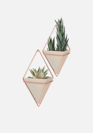Umbra Trigg Wall Vessel Set Of 2 Accessories Concrete Resin / Copper Plated Metal