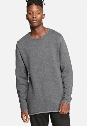 Sergeant Pepper Crew Neck Mottled Yarn Jersey Knitwear Black & Grey