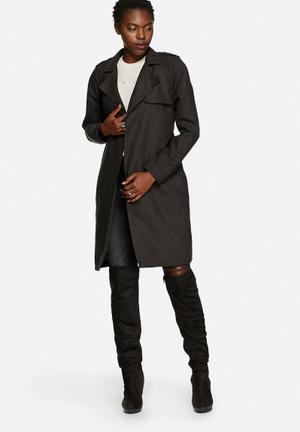 Noisy May Tassy Faux Suede Trench Coat Black