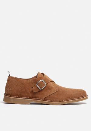 Selected Homme Royce Light Suede Monk Shoe Tan