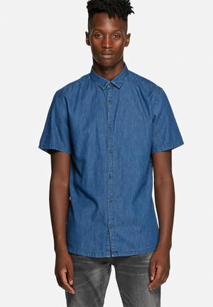 Only & Sons Adam Slim Shirt  Medium Blue Denim